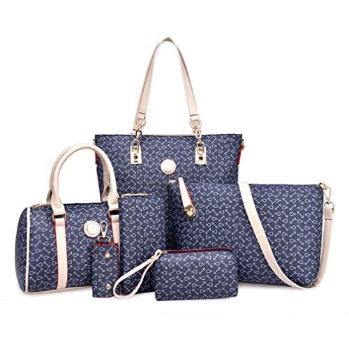 6PCS / SET Dames Samengestelde Tas Dames Dames Trendy Bloemen Gedrukte Handtas Set Blauw