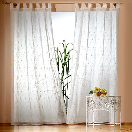 Gardine Schlaufenschal Romantic Chic echte Stickerei Ranke in natur HxB 230x135 cm - Dekoschal transparent - edle weichfliesende Qualität schöner Fall …auspacken, aufhängen, fertig! Vorhang Typ124