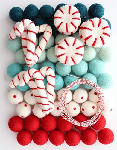 Mini Felt Factory   Christmas Felt Ball Ornament Garland DIY Bunting Banner Decor   Red White Wool Poms Winter Seasonal Home   White Craft Project Supplies 20mm Diam   ~10 Ft String (Peppermint)