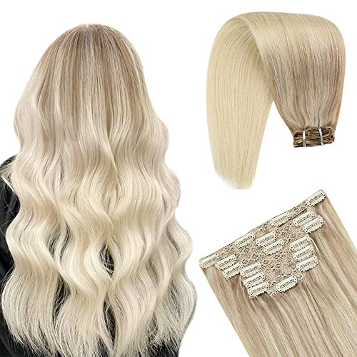 YoungSee Extension Cheveux Naturel Clip Tête Pleine Extension Clip Cheveux Nataral Blond Doré mixte Bleach Blond Double Trame Clips Extension Blond Ch