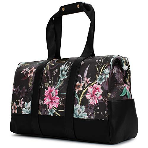 BADGLEY MISCHKA Essence Travel Tote Weekender Bag - Packable Travel Bag (Winter Flowers)