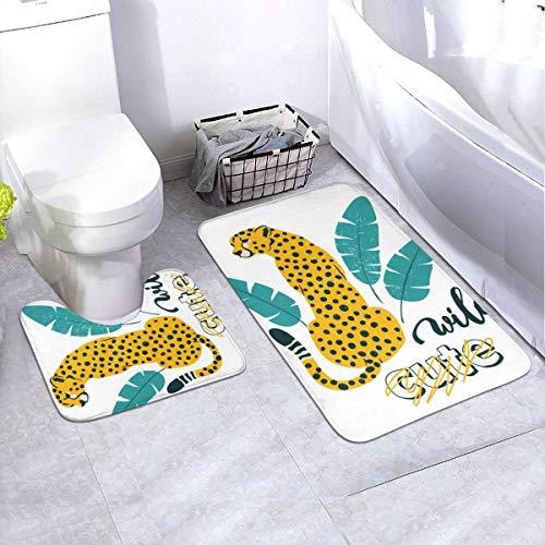N/D Wild Slogan - Juego de 2 alfombrillas antideslizantes para decoración de interiores, diseño de leopardo