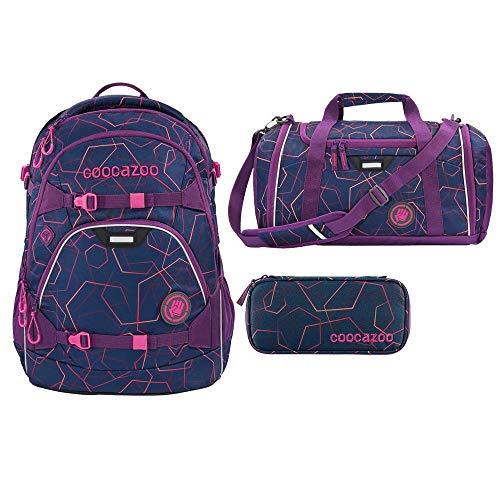 Coocazoo ScaleRale Set 3tlg: Schulrucksack, Sporttasche und Schlampermäppchen (Laserbeam Plum)