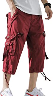 Emdmlgn Cargo Shorts for Mens 3/4 Relaxed Fit Shorts Below Knee Shorts