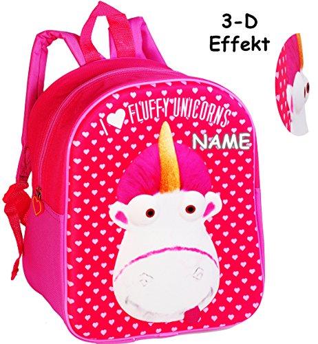 alles-meine.de GmbH 3-D Effekt _ Kinder Rucksack -  Einhorn Fluffy - Minions - Ich einfach unverbesserlich  - incl. Name - Tasche - wasserfest & beschichtet - Kinderrucksack / ..