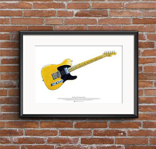 George Morgan Illustration Keith Richards Fender Telecaster 'Micawber' Gitarre Kunst Poster A2 Größe
