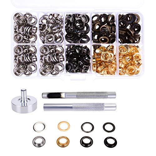 YoungRich Set van 200 stuks metalen ringen ringen ringen ringen kit in tassen schoenen DIY knutselen 4 kleuren verkrijgbaar diameter 1 cm zilver brons gun kleur goud