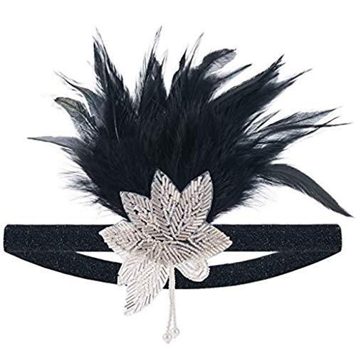 LONGBLE 1920s Hoofdband met veer zwart flapper 20er haarband Great Gatsby stijl vintage pailletten accessoires pure retro haaraccessoires hoofdtooi voor dames bruid carnaval kostuum party dansavond