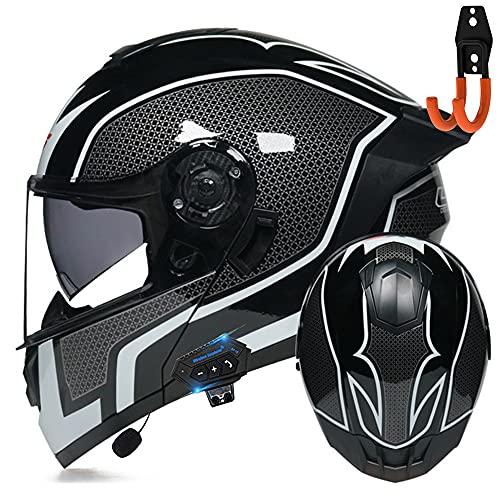 BDTOT Bluetooth Casco Moto Modular Dot/ECE Homologado Doble Visera Casco Moto Abatible con un Micrófono Incorporado Ligero para Hombres Mujeres Unisexo Portacascos Gratis 57-62CM