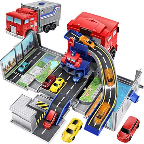 Camión transportador de juguete, pistas de carreras Big Truck Transporte Vehículo transformador estacionamiento mucho con 6 piezas de metal fundido a troquel del coche, desarmar los juguetes de coches