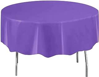 Round Neon Purple Plastic Tablecloth, 84