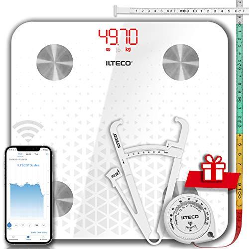 ILTECO Báscula de Baño Grasa Corporal y Muscular Inteligente, Báscula de precisión digital con Tecnología Bluetooth, APP 13 análisis (IMC, Peso Óseo, Masa, Agua etc) conexión Android e iOS Blanco