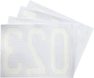Magfok Iron on 8 Inch White 3D Numbers Transfer for Clothing, 4 Sheet (Black or White Optional)