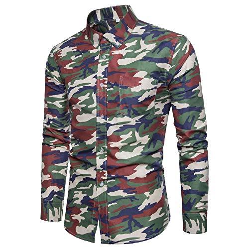 Camisa de los hombres nueva primavera y otoño tendencia casual manga larga camuflaje camisa delgada guapo hombres ropa