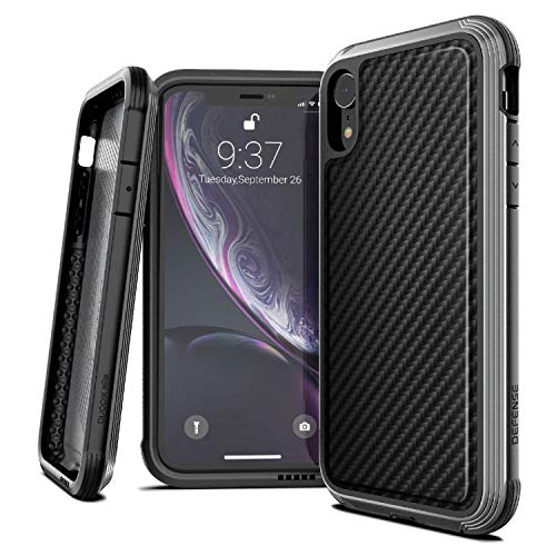 X-Doria Defense Lux, Compatible with Apple iPhone XR - Military Grade Drop Tested, Anodized Aluminum, TPU, and Polycarbonate Protective Case for Apple iPhone XR, (Black Carbon Fiber)