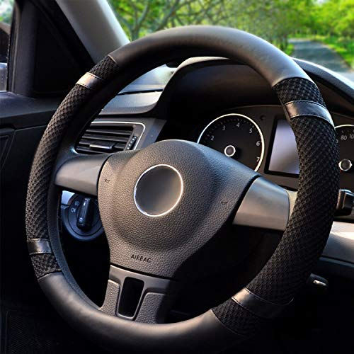 Black and Yellow CAR PASS Bright Colorful Mirror Leather Sport Universal Steering Wheel Cover Double Layers Design Perfectly fit for suvs sedans Trucks Cars