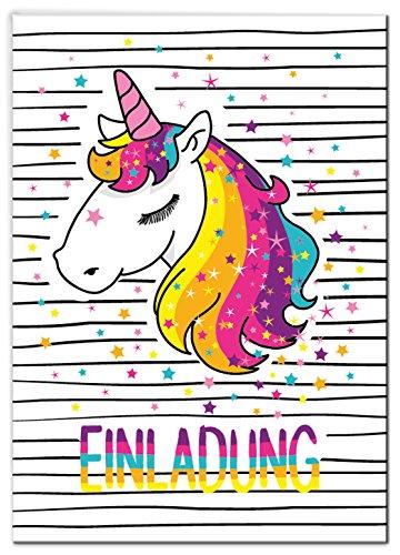 JuNa-Experten 12 Einladungskarten Einhorn Kindergeburtstag Mädchen Unicorn Regenbogen Geburtstagseinladungen Einladungen Kartenset