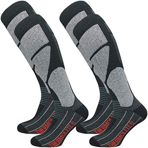 Paire de chaussettes de ski Gazilo Thermolite pour homme - Chaussettes de snowboard - Chaussettes fonctionnelles avec rembourrage spécial