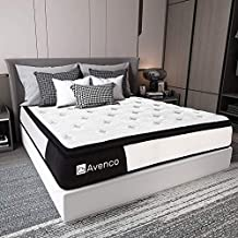 King Mattress, Avenco Hybrid Mattress King Size, 12 Inch King Mattress in a Box, Pocketed Innerspring and Memory Foam Mattress, Medium Firm, Supportive, Pressure Relief, CertiPUR-US, 10 Years Support