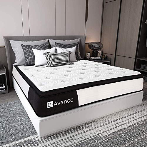 King Mattress, Avenco Hybrid Mattress King Size, 12 Inch Firm King Mattress in a Box, Innerspring and Gel Memory Foam for Supportive, Pressure Relief & Cooler Sleeping, CertiPUR-US, 10 Years Support