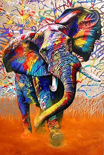 Street Art Graffiti Leinwand Kunst Wandmalerei Poster und Druck Leinwand Leinwand Farbe Elefant Bild für Wohnzimmer nach Hause rahmenlose dekorative Malerei A86 60x90cm verwendet