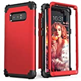 Galaxy Note 8 Case, Note 8 Case for Women Men Boys, IDweel 3 in 1 Shockproof Slim Hybrid Heavy Duty Protection Hard PC Cover Soft Silicone Rugged Bumper Full Body Case for Samsung Galaxy Note 8, Red
