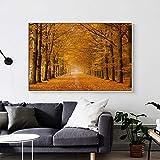 wZUN Árboles Dorados pintan Hermosas Hojas de otoño Lienzo Pintura Carteles e Impresiones murales de Sala de Estar 60x90 Sin Marco