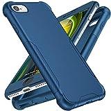 ORETECH Funda Compatible con iPhone 7/8/SE 2020 4,7', con [2X Protector de Pantalla de Vidrio Cristal Templado]360 Protección de Cuerpo Completo Silicona TPU Hard PC Caso para iPhone 7/8/SE 2020-Azul