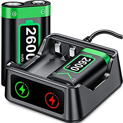 Rechargeable Battery for Xbox Series X S Controller, 2x2600 mAh Battery Pack for Xbox Series X S/Xbox One/Xbox One S/Xbox One X/Xbox One Elite, Rechargeable Battery Pack with Battery Charger by Qixun Tech