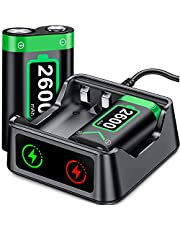 Rechargeable Battery for Xbox Series X|S Controller, 2x2600 mAh Battery Pack for Xbox Series X|S/Xbox One/Xbox One S/Xbox One X/Xbox One Elite, Rechargeable Battery Pack with Battery Charger