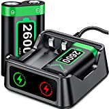 Charger with Xbox One/Series X|S Controller Battery Pack, 2x2600 mAh Rechargeable Battery Pack for Xbox Series X|S/Xbox One/Xbox One S/X/Elite, Battery Pack with Xbox Controller Charger Station