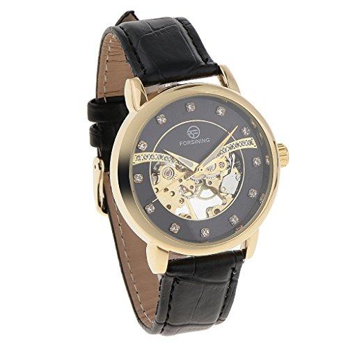 SM SunniMix Hueco Mecánico del Reloj del Bisel del Engranaje de Los Hombres con Los Relojes Mecánicos del Taladro - Negro