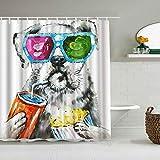 QINCO Cortina de Ducha,Funny Dog Set Animal Pet Theme Gafas de Sol Coloridas,Tejido de poliéster - con Gancho,180x210