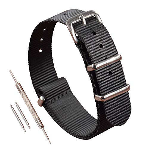 15mm Nylon NATO Watch Strap Band Black One-Piece Style Strap Thin Replacement