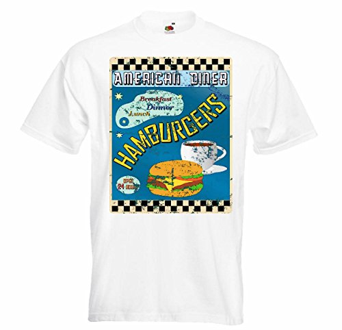 T-shirt Remera American Diner Dessayuno Almorzo Hamburger calorieën dieet Cheeseburger koffie dieet slankheidscalorieën Figura APTITUD IMC vetverbranding DICK DelGADO FIGURA DSTACA