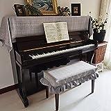 アップライトピアノカバー ピアノカバー 標準直立型ピアノ用 麻色 チェック トップカバー 厚手 ヨーロッパ風 北欧 電子ピアノカバー シンプル ピアノ掛け 汚れ防止 (ピアノカバー+椅子カバー(一人掛けタイプ)(2点セット), グレー)
