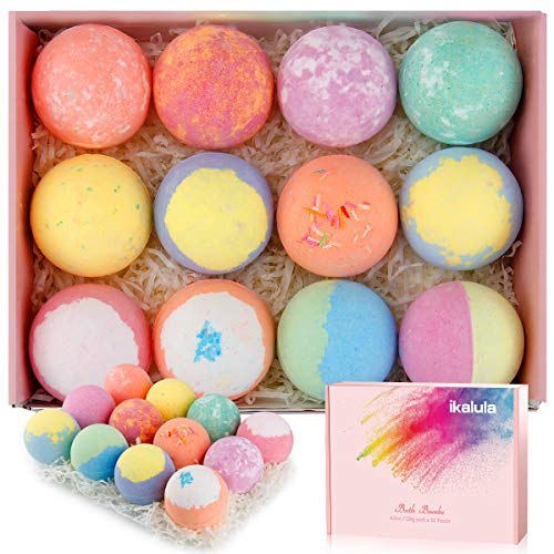 Bath Bomb Gift Set, iKALULA 12 4.2OZ Bulk Bath Bombs for SPA Skin Moisturize with Floating Fizzy Bubble, Natural Essential Oils, Shea Butter and Sea Salt for Women, Mom, Girlfriend