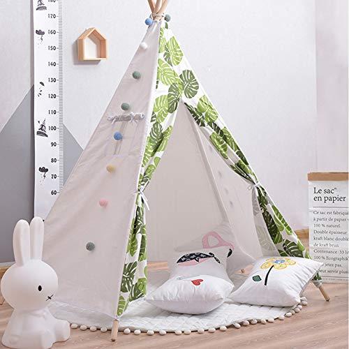 SSLW Tipi Spielzelt Indian Kinderhütte Zelt Spielhaus 100% Baumwolle Leinwand Prinzessin Mädchenzelt Indoor und Outdoor