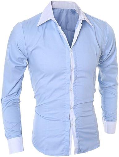 Camisa De Dos Colores para Hombre Camisa con Botones Camisa ...