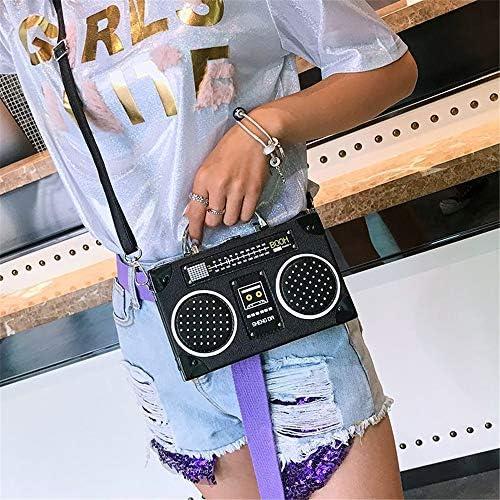 Einzigartige Vintage Umhängetasche In Radioförmiger Form Für Frauen Mit Clip Verschluss Schultertasche Handtasche Braun Braun Large Schuhe Handtaschen