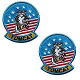 f14 patch - Tom Cat Top Gun Movie Costume Airforce Fighter Cosplay Costume Embroidered Patch Military Tactical Morale Fastener Hook Loop Backing Patches Appliques Badges 3.5 inch 2PCS