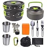 Kyman Pote Que acampa Plegable de la manija Conjunto Acampar sartenes de Acero Inoxidable de Cook Conjunto de cocinar al Aire Kit for Trekking Senderismo Picnic (Color : Green)