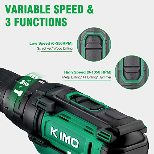 Cordless Drill Driver Kit – 20V Impact Drill Set w/2.0Ah Li-Ion Battery & Charger, 350 In-lb Torque, 0-1350RMP Variable Speed,