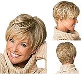 Yxshz Elegante nuevo rubio corto ligero ondulado peluca de pelo resistente al calor para las mujeres señora