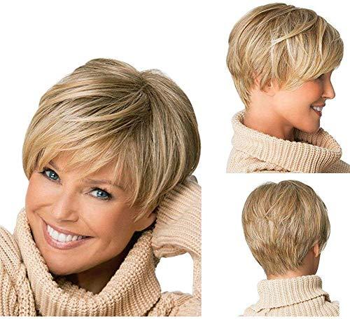 Yxshz - Parrucca da donna con capelli biondi corti e ondulati, resistente al calore
