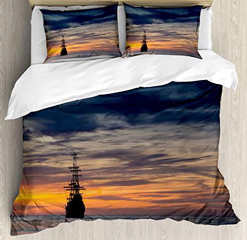 Juego de ropa de cama con diseño de barco pirata, juego de cama de 3 piezas con 2 fundas de almohada, tamaño king, color azul salmón