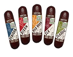 TASTE OF THE WILD – Sample the flavors, 5 of our top choice varieties of wild game summer sausages, venison, bison, wild boar, elk and classic beef HICKORY SMOKED – To perfection, made with only top quality cuts of meats herbs and spices uniquely arr...