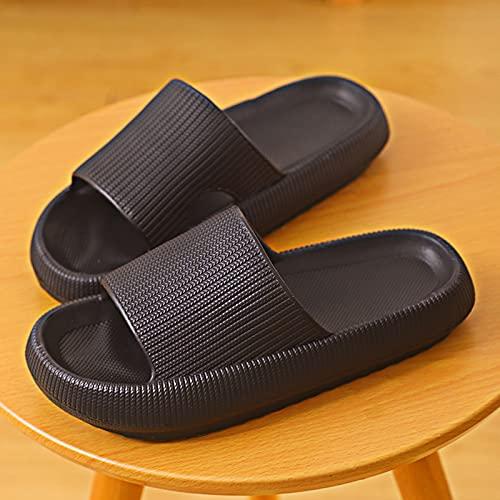 QAZW Zapatillas De Ducha para Mujeres y Hombres, Sandalias Ultra Suaves con Soporte para El Arco, Zapatos De Ducha Antideslizantes para Casa, Interior, Baño, Cuarto,Black-7/8