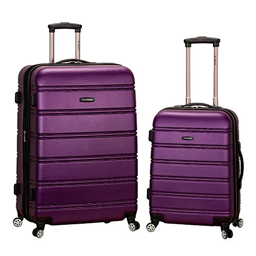 Rockland Melbourne Hardside Expandable Spinner Wheel Luggage, Purple, 2-Piece Set (20/28)