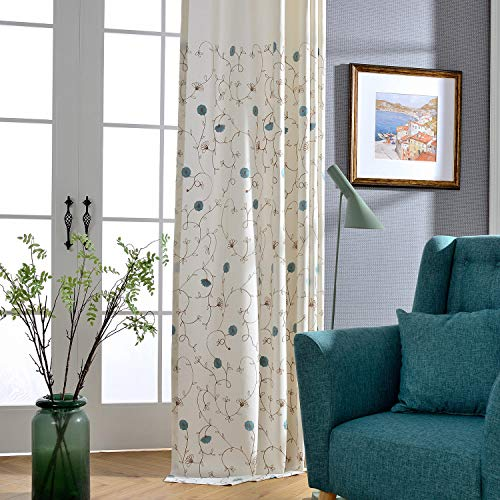 VOGOL European Simple Floral Embroidered Curtains Blue Elegant Faux Linen Curtain for Living Room 52x96 Inch, 2 Panels, Top Grommet